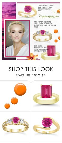 """""""Apples of Gold : Pink Topaz Ring"""" by novalikarida ❤ liked on Polyvore featuring Apples of Gold, Topshop and GINTA"""