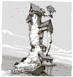 Environment Sketch, Environment Design, Fantasy House, Fantasy Art, Cityscape Drawing, Norman Rockwell, Fantasy Places, Fantasy Illustration, Environmental Art
