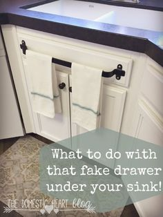 This is an awesome idea of what to do with the fake drawer under your sink.
