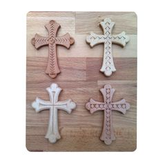 Crosses decorated by chip carving