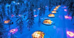 A romantic night under the stars is one thing, but a crystal clear view of the Northern Lights from your own private igloo is definitely another treat entirely. The Igloo Village of Hotel Kakslauttanen in Finland boasts 20 thermal glass igloos that allow visitors to enjoy incredible views of the Aurora Borealis from the warmth and comfort of their own hut.