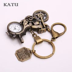 Discount $5.70, Buy Katu Motorcycle Pocket Watch Keychain Metal Fashion Vintage 5021 Letter Tag Clock Steampunk Keychain for Men Gift