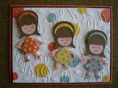 """PuNCH aRT CaRD """"Girls Just Want To Have Fun"""" ____only uses 3 Punches: SU OwL BuiLDeR PuNCH, 1"""" CiRCLe PuNCH & 3/4"""" CiRCLe PuNCH"""