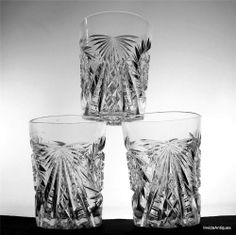 3 Matching Antique ABP American Brilliant Cut Glass Whiskey High Ball TUMBLERS