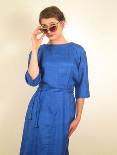 Vintage 1950s Royal Blue Cocktail Dress / 50s Raw by BasyaBerkman