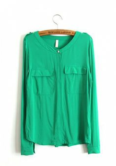 Green Cotton Rayon Round Neck Long Sleeve Button Fly Plain TOPS