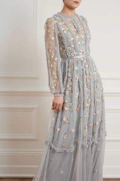 New Season Wallflower Gown in Blue Diamond Modest Dresses, Satin Dresses, Cute Dresses, Amazing Dresses, Vintage Tea Dress, Vintage Dresses, Hijab Evening Dress, Evening Dresses, Tulle Dress