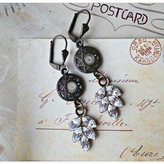 arsenic. Swarovski crystal rhinestone leaf earrings, romantic,... ($22) ❤ liked on Polyvore featuring jewelry, earrings, swarovski crystal earrings, holiday earrings, holiday jewelry, rhinestone earrings and gothic earrings