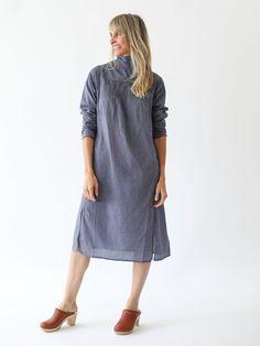 Anaak - Yasmine High Collar Dress - Blue/Grey Gingham