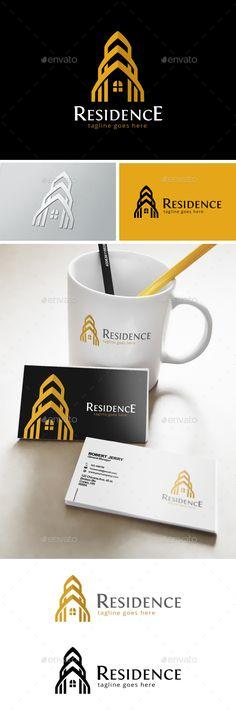 Residence Logo: Building Logo Design Template by Graphic Design Branding, Identity Design, Logo Design Template, Logo Templates, Construction Logo Design, Building Logo, Real Estate Logo Design, Architecture Logo, Hotel Logo