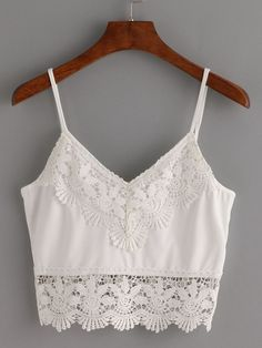 Shop Crochet Trimmed Crop Cami Top - White at ROMWE, discover more fashion styles online. Beige Crop Tops, White Crop Top Tank, Cami Crop Top, Crop Tank, Mode Outfits, Trendy Outfits, Summer Outfits, Fashion Mode, Girl Fashion
