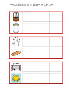 Fitxes per treballar la consciència fonològica Catalan Language, Map, Writing, Reading, Valencia, School, Initials, Manualidades, Note Cards