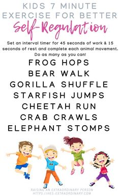 Children Obesity Improve Emotional Regulation in 7 Minutes per Day with this fun animal-themed children's exercise activity. Exercise Activities, Gross Motor Activities, Sensory Activities, Learning Activities, Preschool Activities, Physical Activities, Sensory Diet, Emotional Regulation, Self Regulation