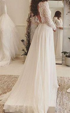 Backless Wedding Dress,Lace Prom Dress,A Line Prom Dress,Fashion