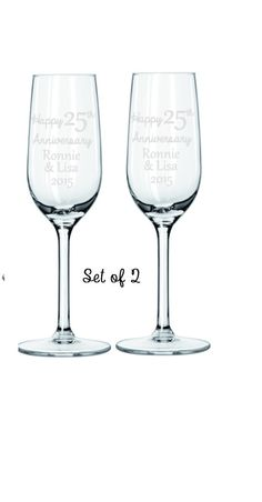 Anniversary Champagne Flutes Engraved by HautePinkCreations