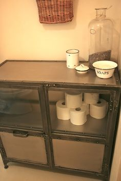 Industrial Chic cabinet in the bathroom for storage