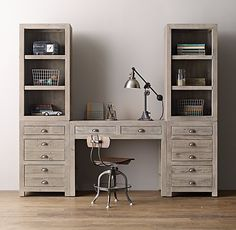 This would keep storage. Just add another desk/shelf to one of the sides.