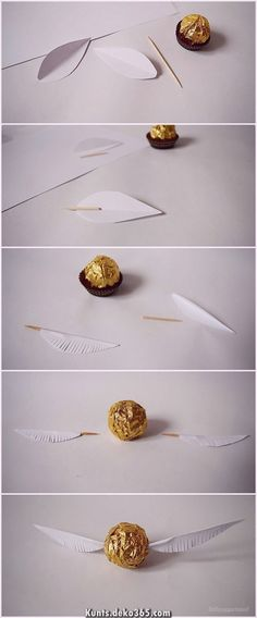 lottapeppermint: The Golden Snitch. A Harry Potter DIY from Christmas chocolate. – Antonia lottapeppermint: The Golden Snitch. A Harry Potter DIY from Christmas chocolate. lottapeppermint: The Golden Snitch. A Harry Potter DIY from Christmas chocolate. Baby Harry Potter, Harry Potter Baby Shower, Natal Do Harry Potter, Harry Potter Navidad, Harry Potter Motto Party, Cadeau Harry Potter, Harry Potter Weihnachten, Harry Potter Bricolage, Harry Potter Thema