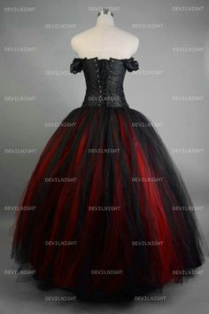 Gothic Black and Red Sleeveless Satin Lace Up Victorian Prom Dress ...