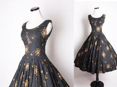 50s Vintage Cocktail Dress / Black Dress / Dress / Dresses / Vintage Dress / Dandelion / Mad Men Fashion /  1330