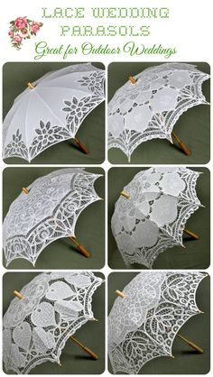 Lace Umbrellas & Parasols A classy way to stay shaded on even the brightest days, our parasols and fans are perfect for outdoor weddings and special occasions where elegance and comfort in the sun don't have to be mutually exclusive. Lace Umbrella, Lace Parasol, Umbrella Wedding, Under My Umbrella, Wedding Umbrellas, Umbrellas Parasols, Lace Patterns, Bridal Shower Decorations, Here Comes The Bride