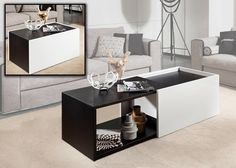 Modern Lacquer Coffee Table furniture in Black/White