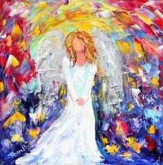 Original painting Angel of Joy PALETTE KNIFE oil by Karensfineart