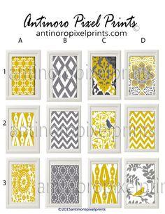 Wand Kunstdrucke Kunst Vintage Modern inspiriert Wall dunkel gelb grau weiß - Set von jedem 3-8 x 10 Drucke - (UNGERAHMT) Wählen Sie alle drei Drucke. Beachten Sie Ihre Auswahl im Abschnitt Hinweis bei der Bestellung. (Beispiel B2 grün) Sondergrößen und Farben erhältlich. Bitte