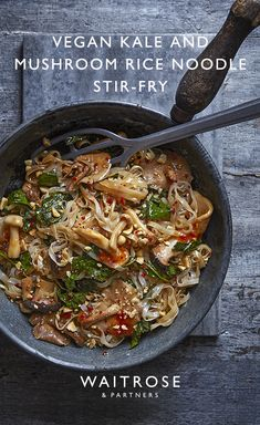 Ready in just 25 minutes, our kale and mushroom stir-fry makes a quick and easy vegan dinner. Veggie Dishes, Veggie Recipes, Vegetarian Recipes, Cooking Recipes, Healthy Recipes, Salad Recipes, Keto Recipes, Mushroom Rice, Mushroom Stir Fry