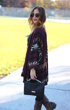 Fall outfit idea and style inspiration - Fashion blogger street style - Gentle Fawn printed cardigan, Frye Boots, jeans