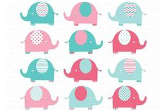 Elephants Clip Art (pink and aqua) by SA ClipArt on Butterfly Clip Art, Butterfly Images, Baby Shower Niña Imagenes, Tarjetas Baby Shower Niña, Elephant Images, Cute Baby Elephant, Baby Shower Niño, Pastel Colour Palette, Chevron Patterns