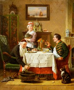 A SATISFYING MEAL by Charles Meer Webb (British 1830 – 1895)
