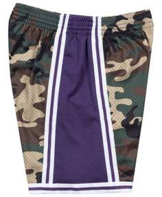 db01e50aab7 Mitchell & Ness Men's Los Angeles Lakers Woodland Camo Swingman Shorts -  Green M