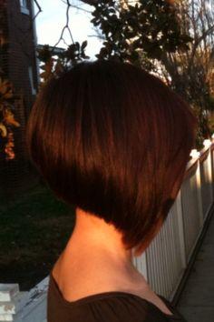 A-line bob. Short hair. Chocolate Brown color.