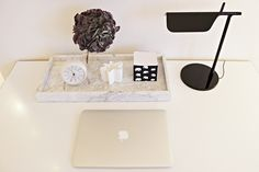 Marble / Hay / Arne Jacobsen / Svenskt Tenn / Arabia / Flos TabT / Apple / My desk / Workspace / Black and white