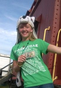 Miss Hayley Jackson on the steps of the Caboose at the B&O Depot.  During the Barnesville Pumpkin Festival 2015