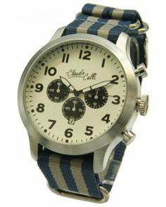 Claudio Calli Herren Armbanduhren CAL.7814 Dummy Chronograph Blau und Grau Nylon Silber Analog Quarz Claudio Calli, http://www.amazon.de/dp/B00J2VVC46/ref=cm_sw_r_pi_dp_gk9rtb0J2Y09H