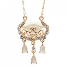 $10.00 Ethic Style Diamante Faux Opal Embellished Hollow Longevity Lock Pendant Necklace For Women