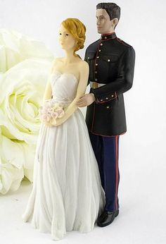 Marine Wedding Cake Topper - Caucasian Bride and Groom