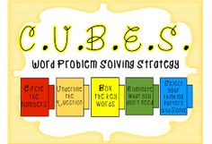 First Grade Wow: Math Thinking Patterns and CUBES strategy Cubes Math Strategy, Math Strategies, Math Poster, Second Grade Math, Addition And Subtraction, Learning Tools, Word Problems, Kindergarten Math, Working Hard