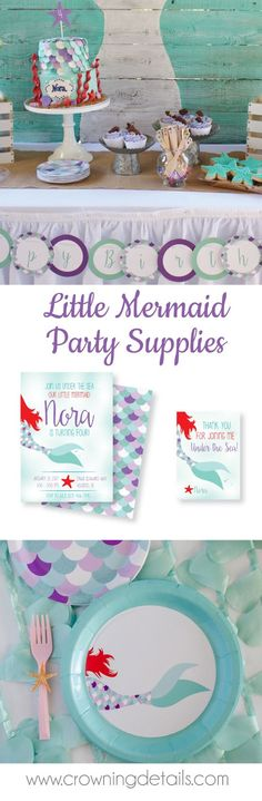 Little mermaid party supplies for your mermaid birthday party! Shop our entire collection!! Mermaid paper plates | Lulus birthday | Pinterest | Mermaid ... & Little mermaid party supplies for your mermaid birthday party! Shop ...