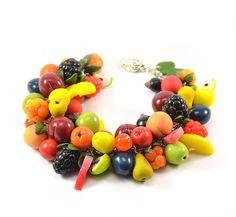 Fruit cha cha charm bracelet - Polymer clay jewelry - Handmade - Apple Peach Pear Plum Cherry - Polymer clay bracelet Bright Gift