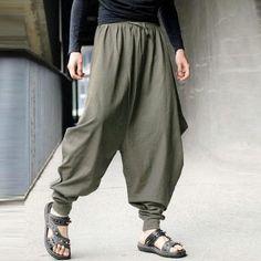 5e5d02089c9 Casual Cotton Linen Solid Color Baggy Loose Fit Harem Pants for Men –  menhill Men Pants