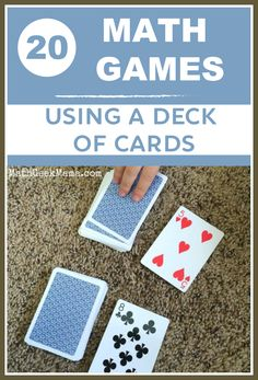 Math Games Using A Deck Of Cards! - - A collection of dozens of the best math card games for Kindergarten through high school, organized by math topic to help you find what you need! Easy Math Games, Math Card Games, Kindergarten Math Games, Card Games For Kids, Math For Kids, Math Classroom, Teaching Math, Math Games For Preschoolers, Dice Games