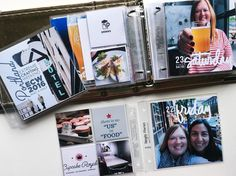 "4x4 | @a_starace on Instagram: ""For these mini-albums I often cut my 3x4 cards down to 2x2. I also like the @kellypurkeyshop planner stamps for these small layouts."""