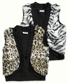 Energie Kids Vest, Girls Animal-Print Faux-Fur Sweater Vest