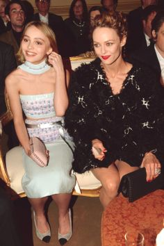 Vanessa Paradis and daughter Lily Rose Depp attend the CHANEL Paris-Salzburg 2014/15 Metiers d'Art Collection on March 31, 2015 in New York City