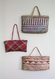 Flax kete (baskets) had many uses and are still a popular alternative to a tote bag. The flax in these modern baskets is brilliantly dyed. Strips of leaves are woven by a technique known as 'raranga' to form the kete. This technique is also used to produce other articles such as floor mats and belts. Although New Zealand flax is the most common material because of its durability, the leaves of other plants such as kiekie and pīngao are also used. Patterns that symbolise elements of nature…