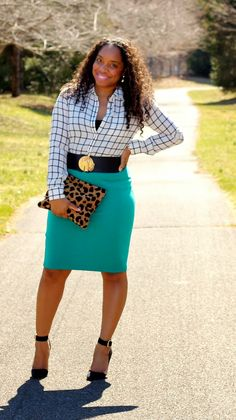 Style & Poise - black and white grid print, green skirt