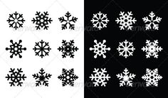 Snowflakes+icons+with+shadow+on+black+and+white+